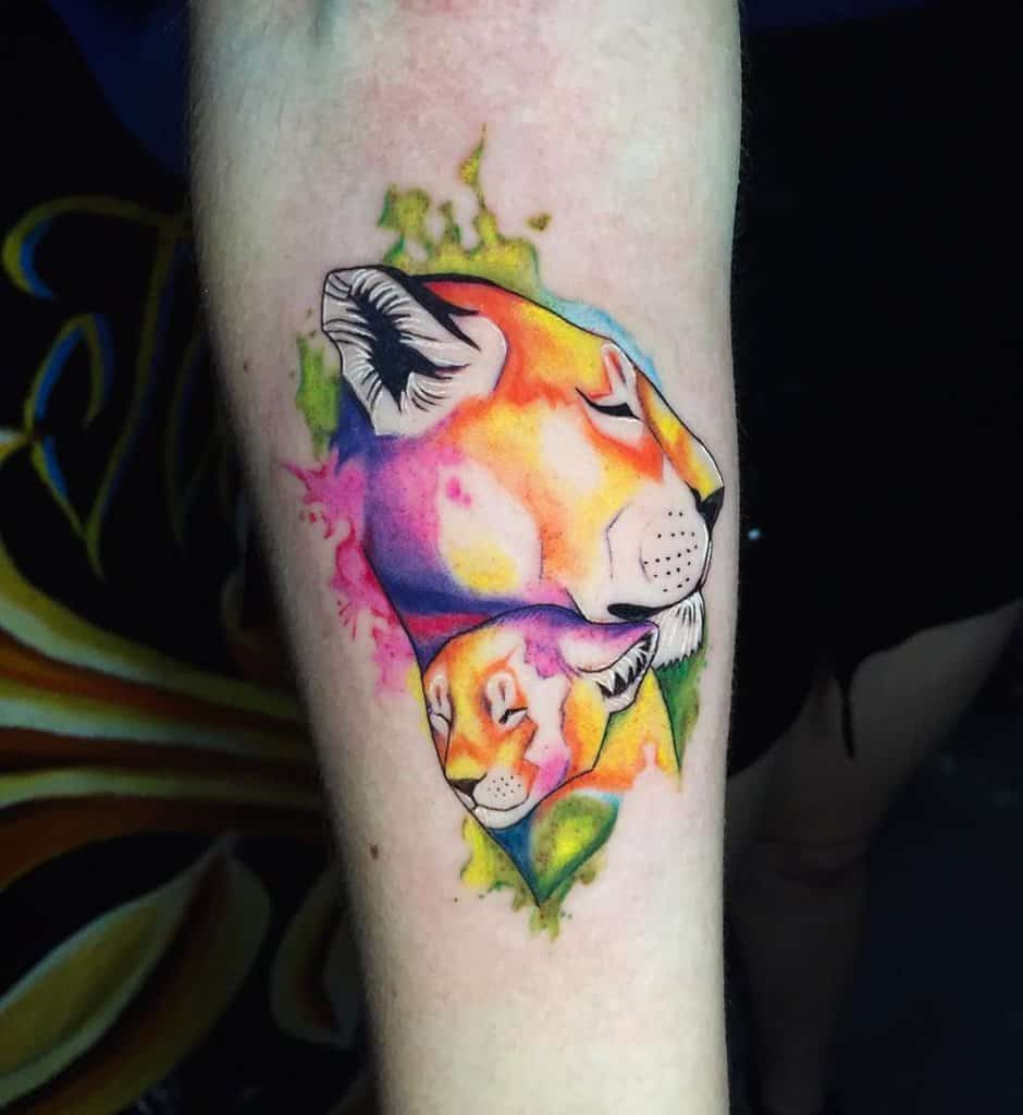 Colorful Lion Ink Tattoo