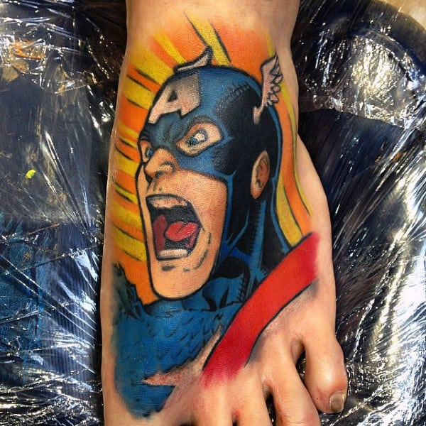 Colorful Male Foot Captain America Tattoo Designs