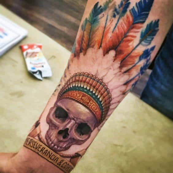 Colorful Male Inner Forearm Indian Skull Tattoo Design Ideas