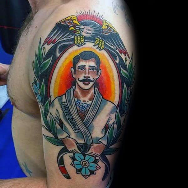 Colorful Male Jiu Jitsu Old School Traditional Arm Tattoo Inspiration