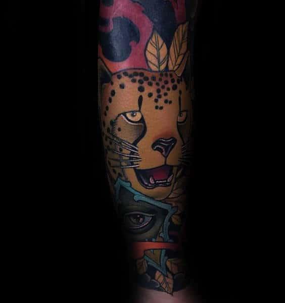 Colorful Male Leopard Forear Sleeve Tattoo Design Ideas