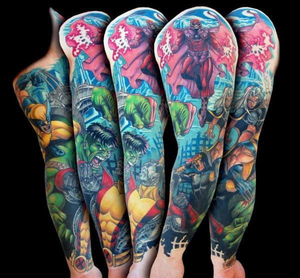Colorful Male Marvel Sleeve Tattoo Ideas