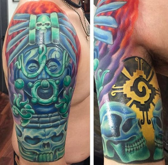 Colorful Male Mayan Half Sleeve Tattoo Design