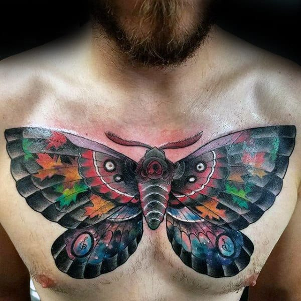 Colorful Male Moth Chest Tattoos