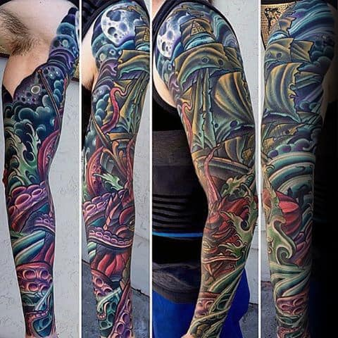 Colorful Male Sailing Ship Unique Sleeve Tattoos
