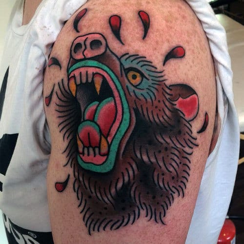 Colorful Male Traditional Bear Upper Arm Tattoo Designs