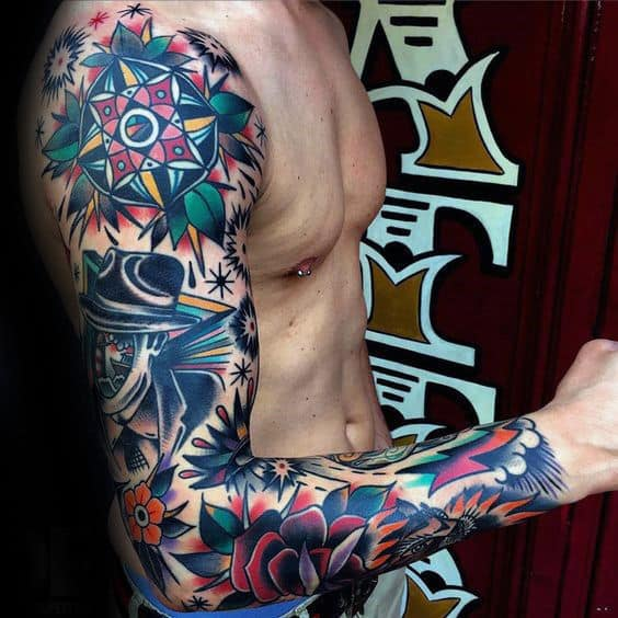 60 traditional tattoo sleeve designs for men old school for Male sleeve tattoo ideas