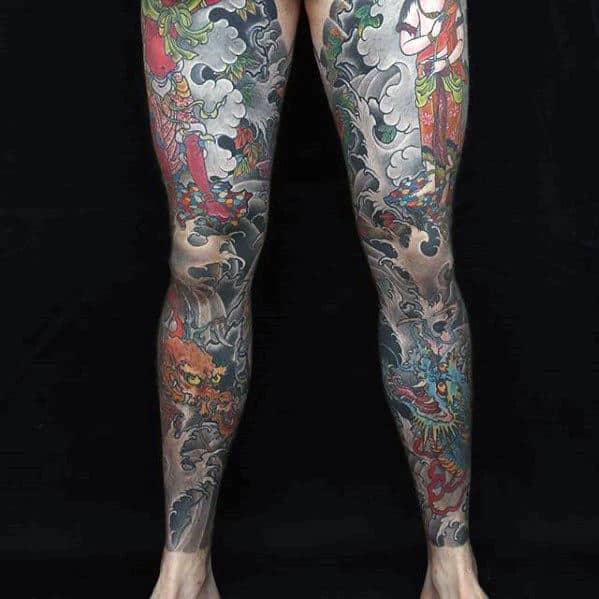 Colorful Mens Amazing Japanese Dragon Leg Sleeve Tattoo Ideas