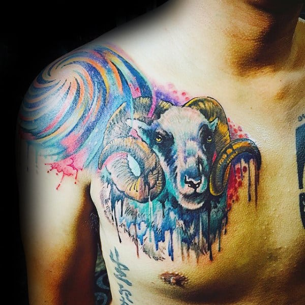 Colorful Mens Aries Watercolor Tattoo Deisgns