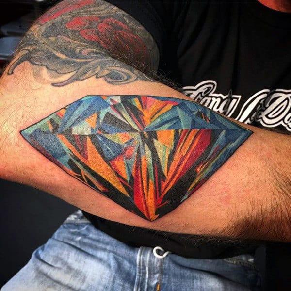 Colorful Mens Arm Diamond Tattoo Design Inspiration
