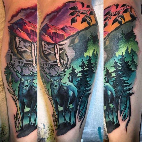 Colorful Mens Artistic Elk Leg Tattoo Designs