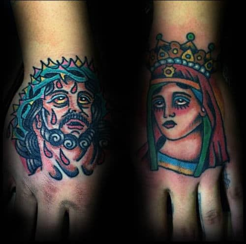 Colorful Mens Artistic Traditional Jesus Christ Hand Tattoos