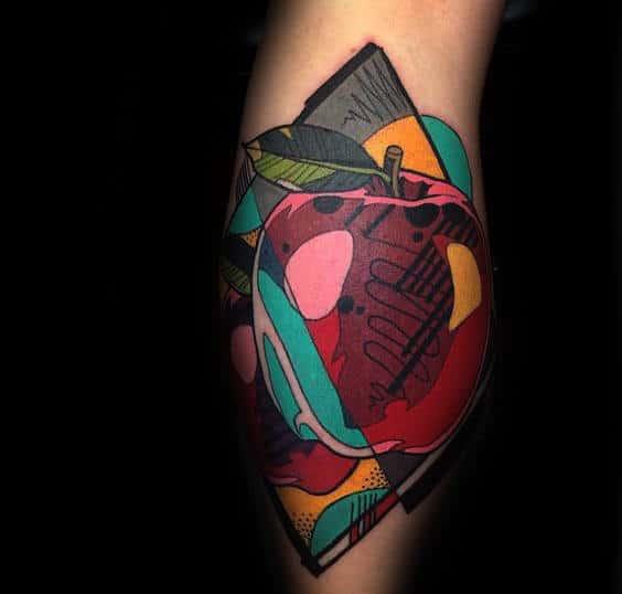 Colorful Mens Back Of Leg Calf Apple Tattoo Ideas