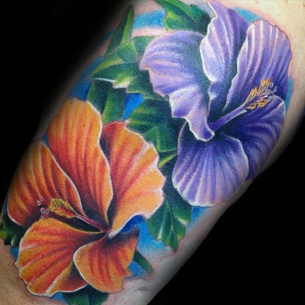 Colorful Mens Bicep Hibiscus Thattoos