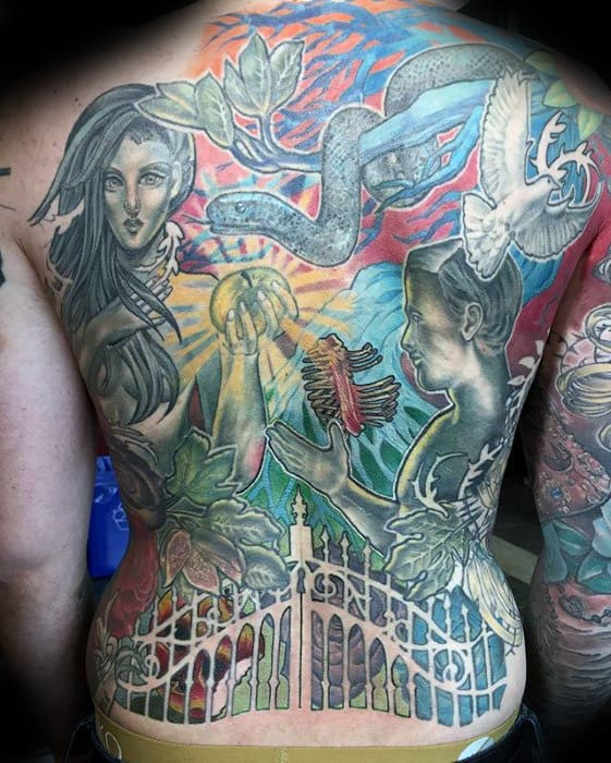 Colorful Mens Catholic Themed Full Back Tattoos