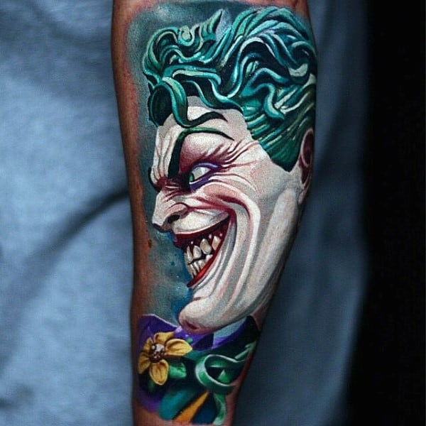 Colorful Mens Creative Joker Leg Tattoo Ideas