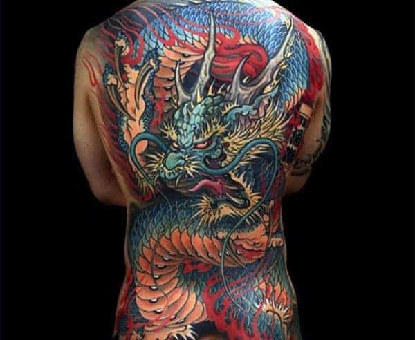 colorful-mens-dragon-back-tattoos