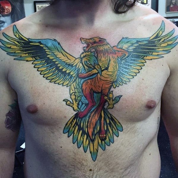 Colorful Mens Falcon Chest Tattoos
