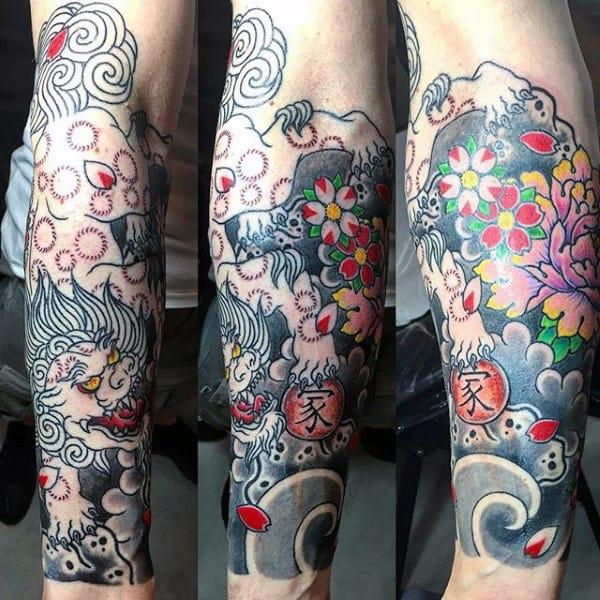 Colorful Men's Flower Tattoos