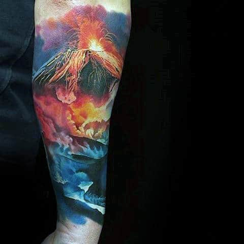 Colorful Mens Forearm Sleev Volcano Tattoo Design Ideas