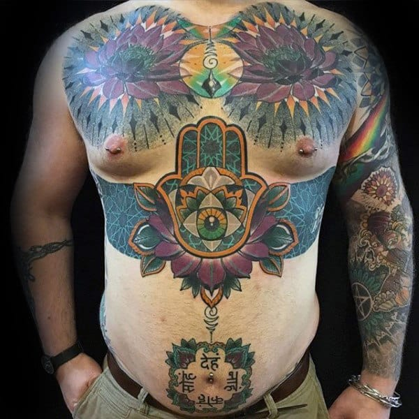 Colorful Mens Hamsa Chest Tattoo Designs