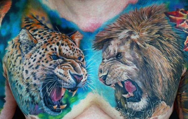 Colorful Mens Lion And Leopard Tattoo Design On Chest