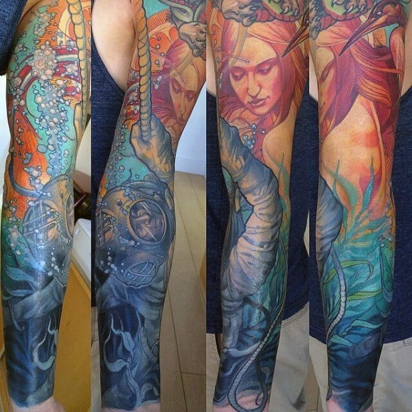 Colorful Mens Mermaid Underwater Themed Full Sleeve Tattoos