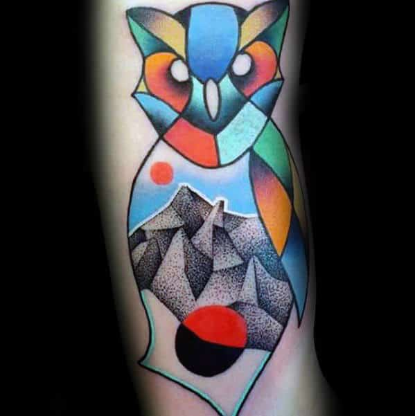 Colorful Mens Mountains With Geometric Owl Tattoo On Arm