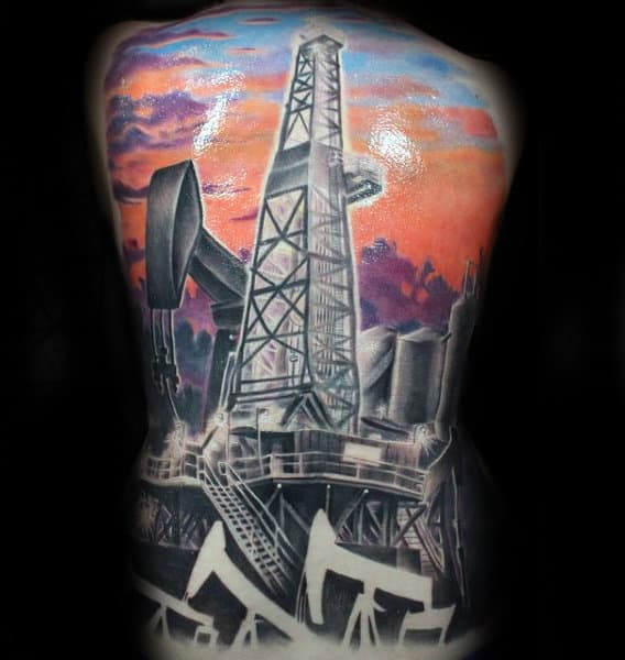 Colorful Mens Oilfield Themed Full Back Tattoos