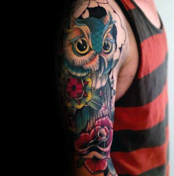 Colorful Mens Old School Traditional Owl Rose Flower Sleeve Tattoos