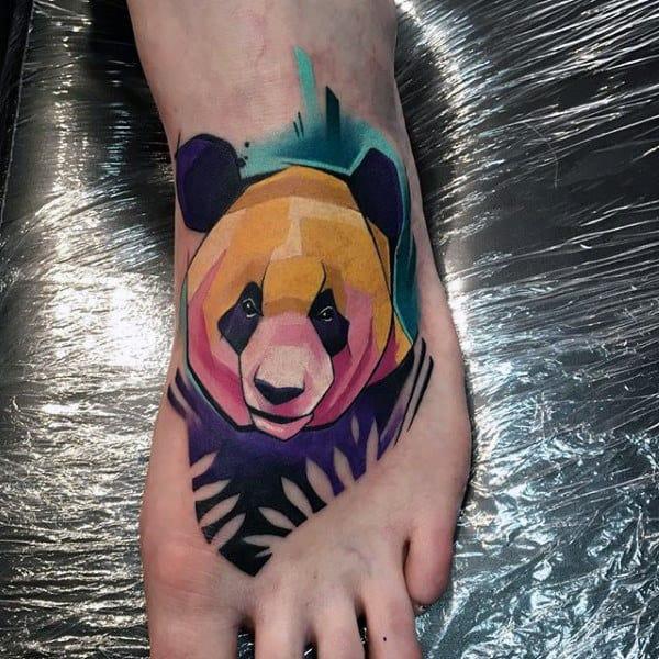 Colorful Mens Panda Foot Tattoos With Watercolor Design