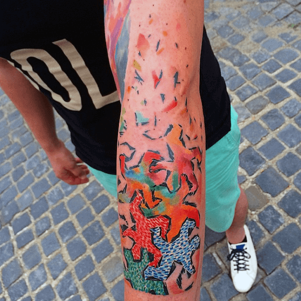 Colorful Mens Pop Art Forearm Tattoos