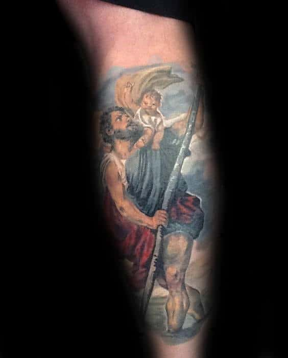 Colorful Mens Religious Saint Christopher Leg Sleeve Tattoo