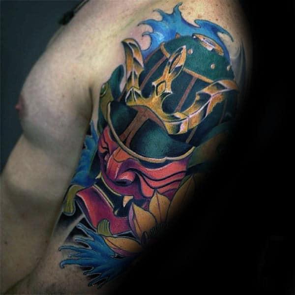 Colorful Mens Samurai Helmet Half Sleeve Tattoos