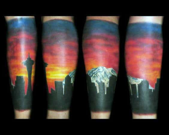 Colorful Mens Seattle Skyline Leg Sleeve Tattoos