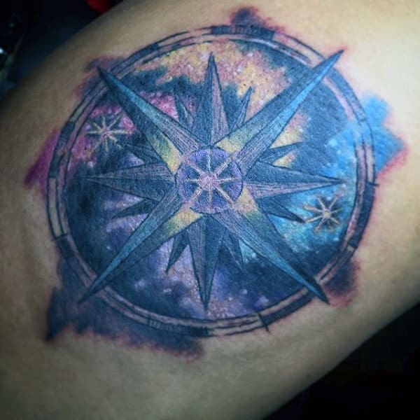 Colorful Men's Small Star Tattoo Inspiration