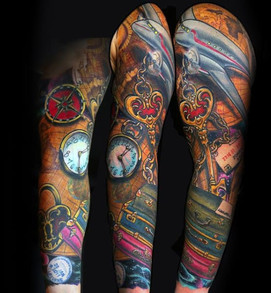 Colorful Mens Suitcase Airplane Travel Full Sleeve Tattoos
