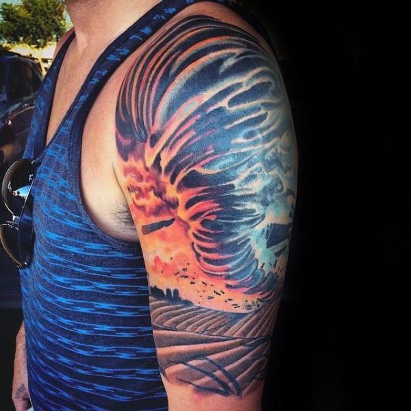 Colorful Mens Tornado Moving Across Farm Half Sleeve Tattoo