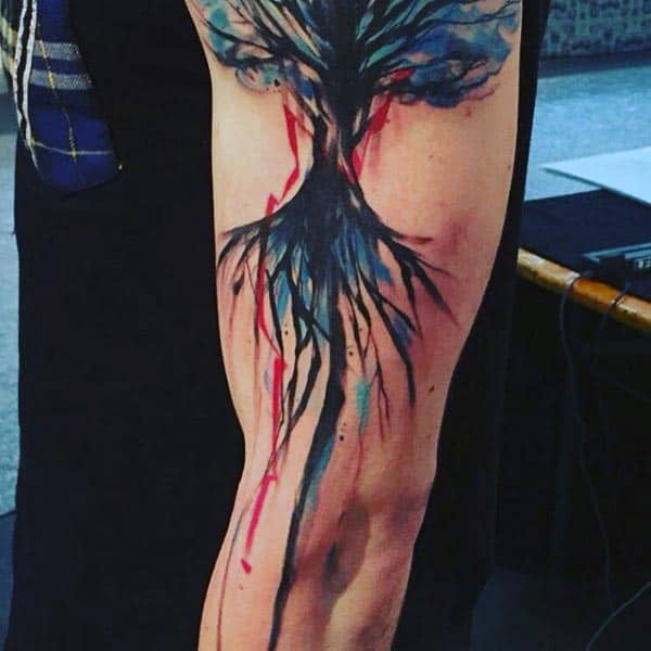 Colorful Mens Tree Of Life Artistic Full Arm Tattoo Ideas