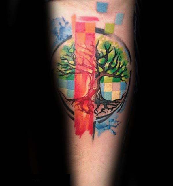 Colorful Mens Tree Of Life Artistic Inner Forearm Tattoos