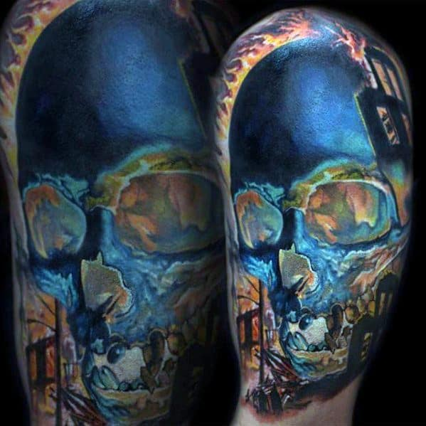Colorful Mens Unique Skull Arm Tattoo Inspiration