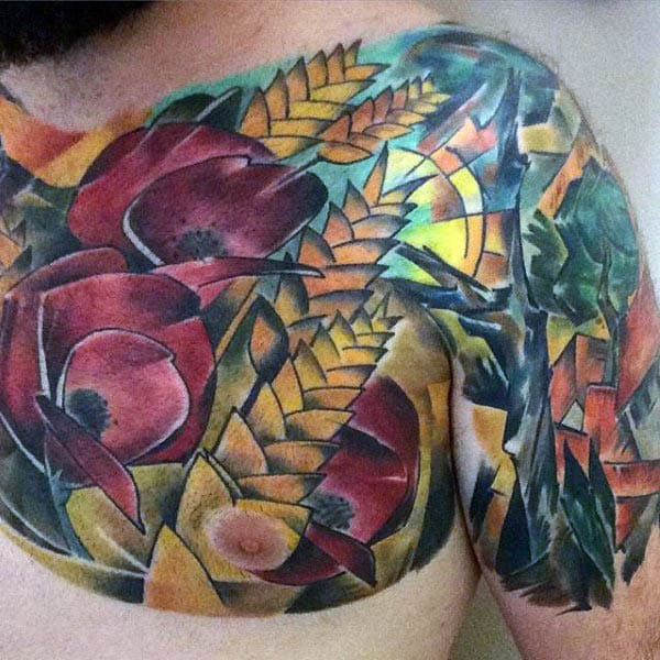 Colorful Mens Upper Chest Poppy Tattoo Design Ideas