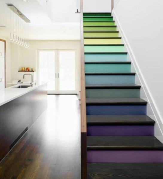 Colorful Modern Design Ideas Painted Stairs