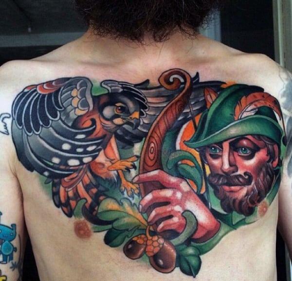Colorful Modern Guys Upper Chest Tattoo Deisgn Ideas