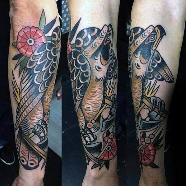 Colorful Modern Hawk Tattoo On Man Forearm