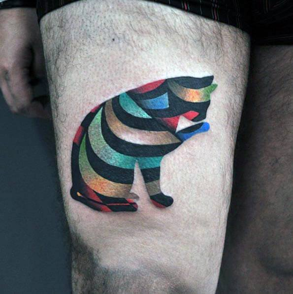Colorful Modern Thigh Cat Mens Tattoos