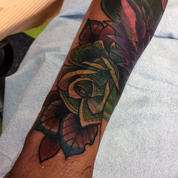 Colorful Money Rose Forearm Sleeve Tattoo For Guys