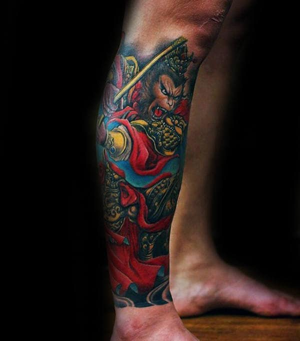 Colorful Monkey King Male Lower Leg Sleeve Tattoos