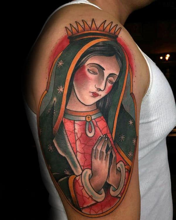 Colorful Mother Mary Guys Upper Arm Tattoo Designs