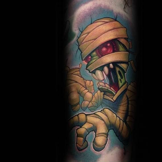 Colorful Mummy Mens New Scohol Inner Arm Bicep Tattoos